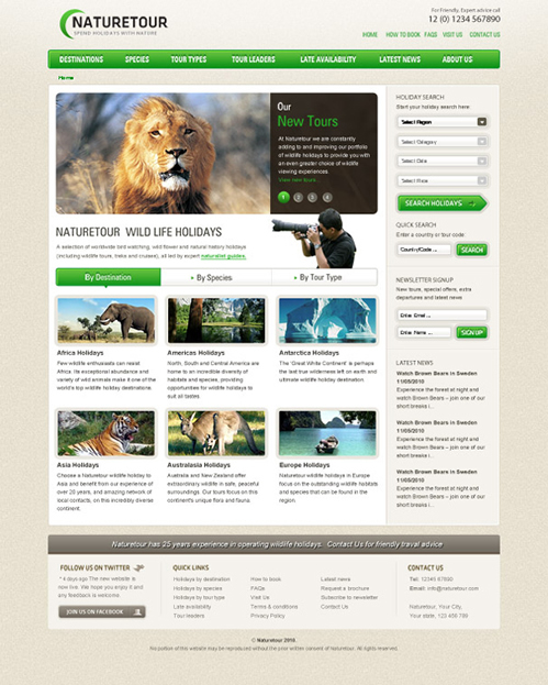 NatureTour 40 (Really) Beautiful Web Page Templates in Photoshop PSD