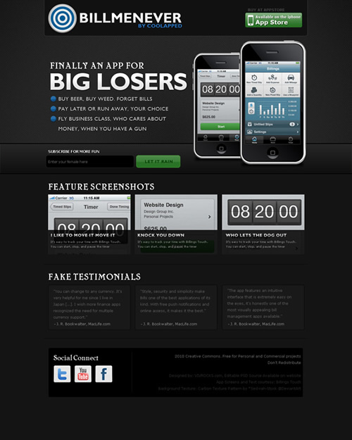 dark iphone 40 (Really) Beautiful Web Page Templates in Photoshop PSD