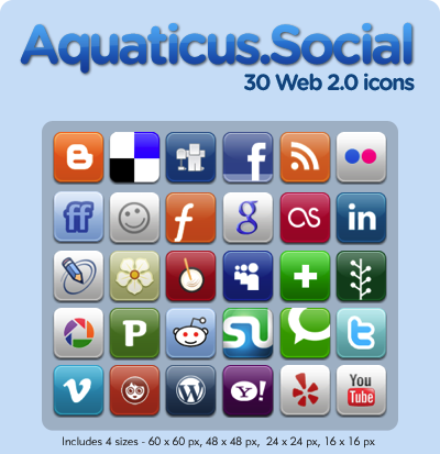 Aquaticus Social by jwloh 15 Free Awesome Social Bookmark Icons Sets