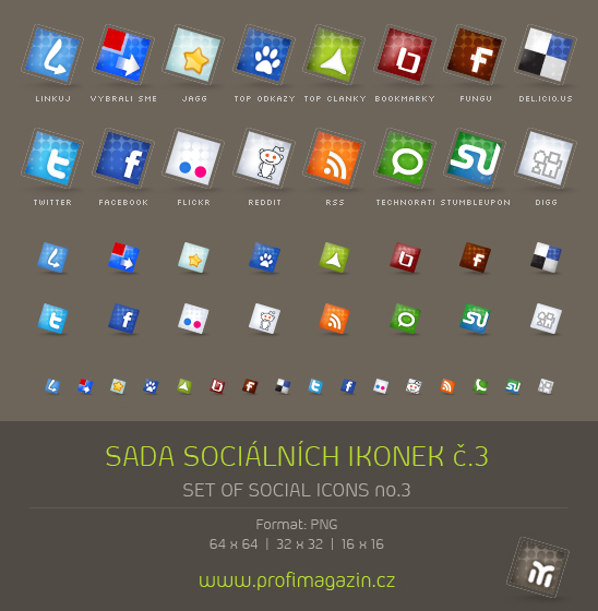 Set of social icons no 2 by Tydlinka 15 Free Awesome Social Bookmark Icons Sets