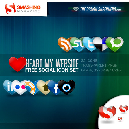 hearts 15 Free Awesome Social Bookmark Icons Sets