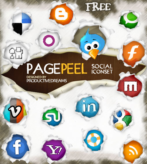 pagepeel free social iconset 15 Free Awesome Social Bookmark Icons Sets