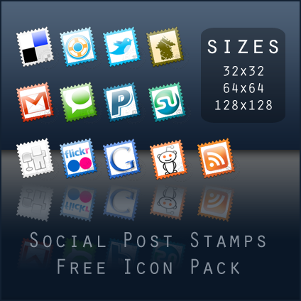 poststamps 15 Free Awesome Social Bookmark Icons Sets