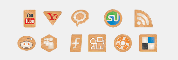 social icons made of woodi 15 Free Awesome Social Bookmark Icons Sets